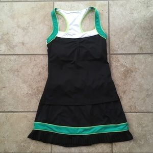 EUC Tail tennis top/skirt, small, black/lime